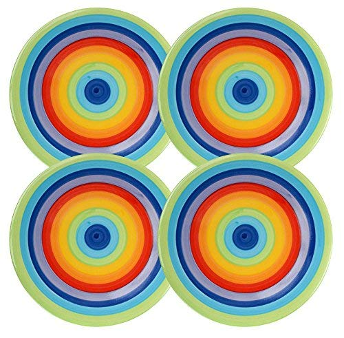 Juego de 4–Rainbow Stripe–Bright, alegre, rayas, multicolor de cerámica platos–18cm multicolor de cerámica platos-18cm Shared Earth .