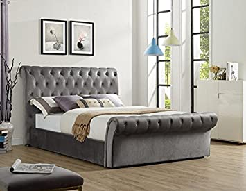 Everest Luxurious Grey Fabric Upholstered Sleigh Bed Frame With