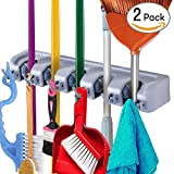 utility hooks for brooms - iFAVO Mop and Broom Holder Wall Mount, Garden Tools Organizer Hanging Rack, Utility Storage Hooks Multi-Used in Kitchen, Garage, Outdoor Yard (Pack of 2)