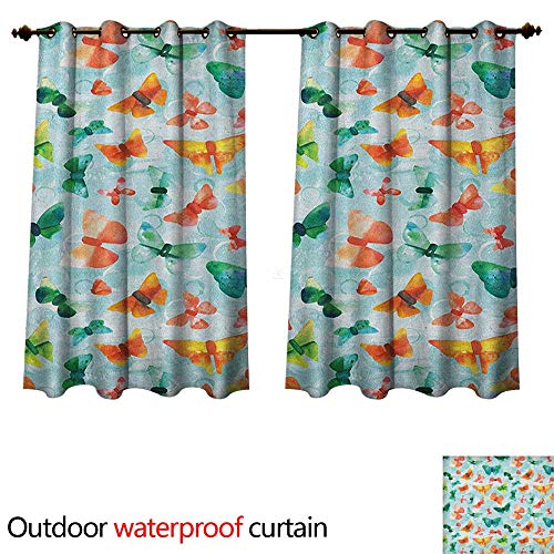 Anshesix Seafoam Outdoor Ultraviolet Protective Curtains Watercolor Butterflies of Many Colors Brush Stroke Effect Spring Fauna Pattern W55 x L72(140cm x 183cm) -