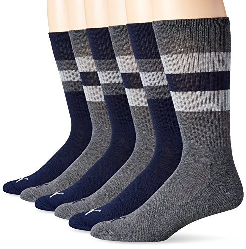 PUMA Socks Men's Striped Crew Socks,Navy,10-13/6-12, Pack of 6