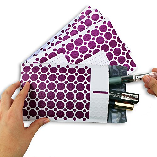 #000 4x8 Inch Pack of 60 Purple and White With Address Labels Poly Bubble Mailers Padded Shipping Envelopes Bags for Packing Goods with Self Adhesive Strip and Made Water Resistant by Wants, Needs and Basics (Image #7)'