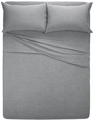 AmazonBasics Heather Cotton Jersey Bed Sheet Set - Full, Light Grey - Heather jersey sheet set includes flat sheet, fitted sheet, and 2 pillowcases Woven with pre-dyed yarn with a combed cotton heathered effect Light-weight heather jersey is exceptionally soft and comfortable - sheet-sets, bedroom-sheets-comforters, bedroom - 51wNAnmfVuL -