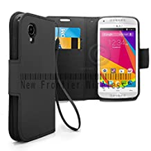 BLU Dash C Music Dash Music JR (D380L / D390)Flip Cover Wallet Case with a hand band, Many Colors Available (Wallet Black)