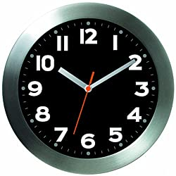 BAI Brushed Aluminum Wall Clock, Mega Black