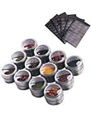 Sanvcomy 12 Magnetic Spice Tins- Stainless Steel Spice Storage Containers, Kitchen Spice Jars with Clear Lid with Sift & Pour, Rack Magnetic on Fridge, 120 Spice Labels