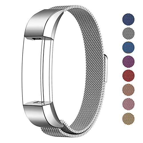 SWEES Metal Bands Compatible Fitbit Alta & Fitbit Alta HR, Milanese Loop Stainless Steel Metal Replacement Accessories Small Large for Women Men, Silver, Black, Rose Gold, Colorful Champagne