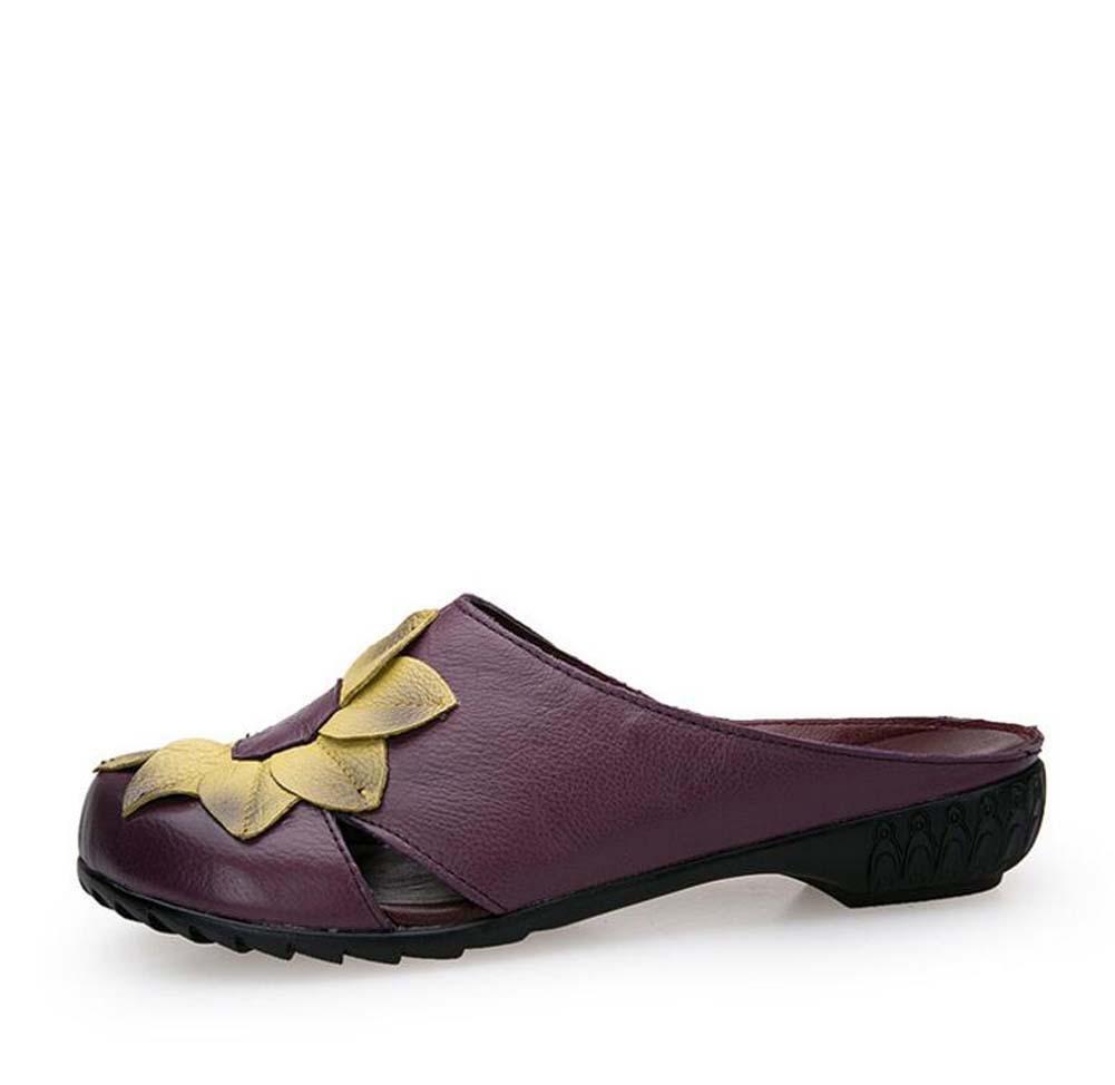 Onfly Pompe Mules Chaussons Des sandales Dames Cuir véritable Confortable Respirant Fleurs Creux Fond doux Chaussures plates Cool Pantoufles Eu Taille 35-40