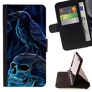 - Raven Skull Metal Black Dark - Estilo PU billetera de cuero del soporte del tir???¡¯???3n [solapa de cierre] Cubierta- For Apple Iphone 6 ( Devil Case )