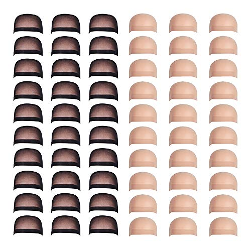 Fani 60 Pieces Nylon Wig Caps Wholesale Elastic Stocking Wig Cap Stretchy Close End Wig Caps 30 Pcs Natural Nude Beige and 30 Pcs Black Color