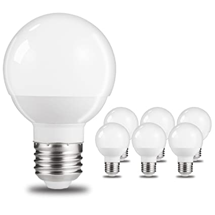 Delicieux JandCase Globe Vanity Light Bulbs, 50W Incandescent Equivalent, 6W, 600Lm,  Small In