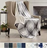 Home Fashion Designs Premium Reversible Two-in-One Sherpa and Sculpted Velvet Plush Luxury Blanket. Fuzzy, Cozy, All-Season Berber Fleece Throw Blanket Brand. (Plaid Grey)