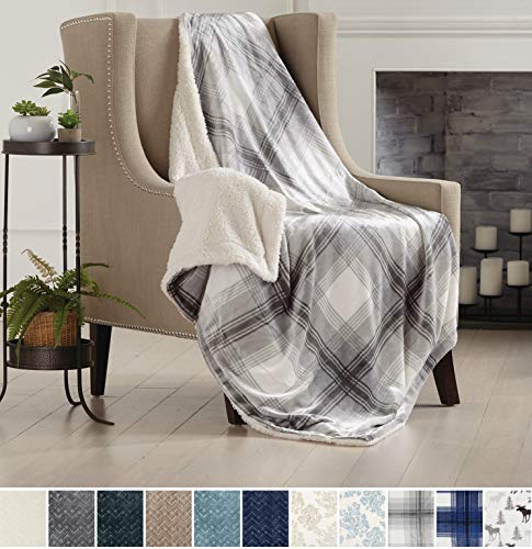 (Home Fashion Designs Premium Reversible Two-in-One Sherpa and Sculpted Velvet Plush Luxury Blanket. Fuzzy, Cozy, All-Season Berber Fleece Throw Blanket Brand. (Plaid Grey))