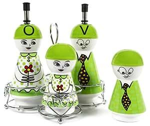 Green Family Ceramic Oil and Vinegar Dispensers, Salt and Pepper Shakers Cruet Set