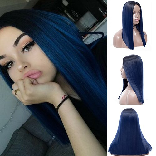 IVY HAIR New Trendy Blue Hairstyle Wigs Ombre Color Black to Blue Hair Wig Straight Long Synthetic Wigs for Women Middle Part Heat Resistant Hair Replacement Wigs 24 INCH