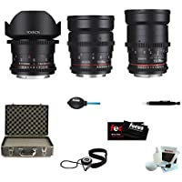 ROKINON CINE DS Wide Angle Bundle Lens Kit - 14mm + 24mm + 35mm for Sony E + ...
