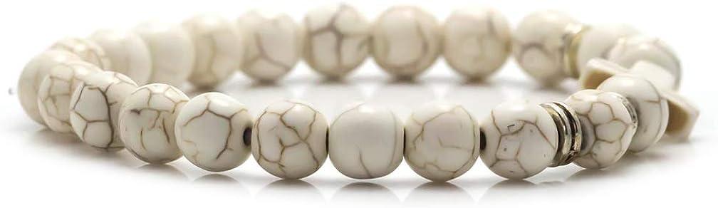 Xusamss Fashion Religious Cross Bangle Beads Stretchable Charm Bracelet,7 1//2 wrist