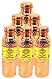 IndianArtVilla Set of 6 Pure Copper Hammered Joint Free Leak Proof Bottle 800 ML each Travelling Good Health Benefit Yoga Ayurveda