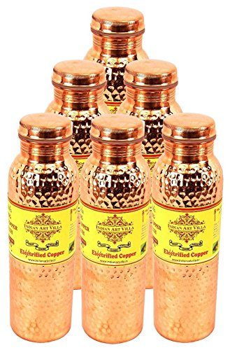 IndianArtVilla Set of 6 Pure Copper Hammered Joint Free Leak Proof Bottle 800 ML each Travelling Good Health Benefit Yoga Ayurveda