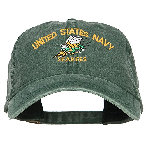 Seabees Vietnam Navy (E4hats US Navy Seabees Embroidered Washed Cap - Dk Green OSFM)