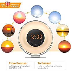Wake Up Light Sunrise Digital Alarm Clock [Upgraded Version] Sunset Simulation Alarm Clock Radio with 6 Natural Sounds and FM Radio, 7 Auto Switch Colors for Heavy Sleepers Bedside, Adults kids