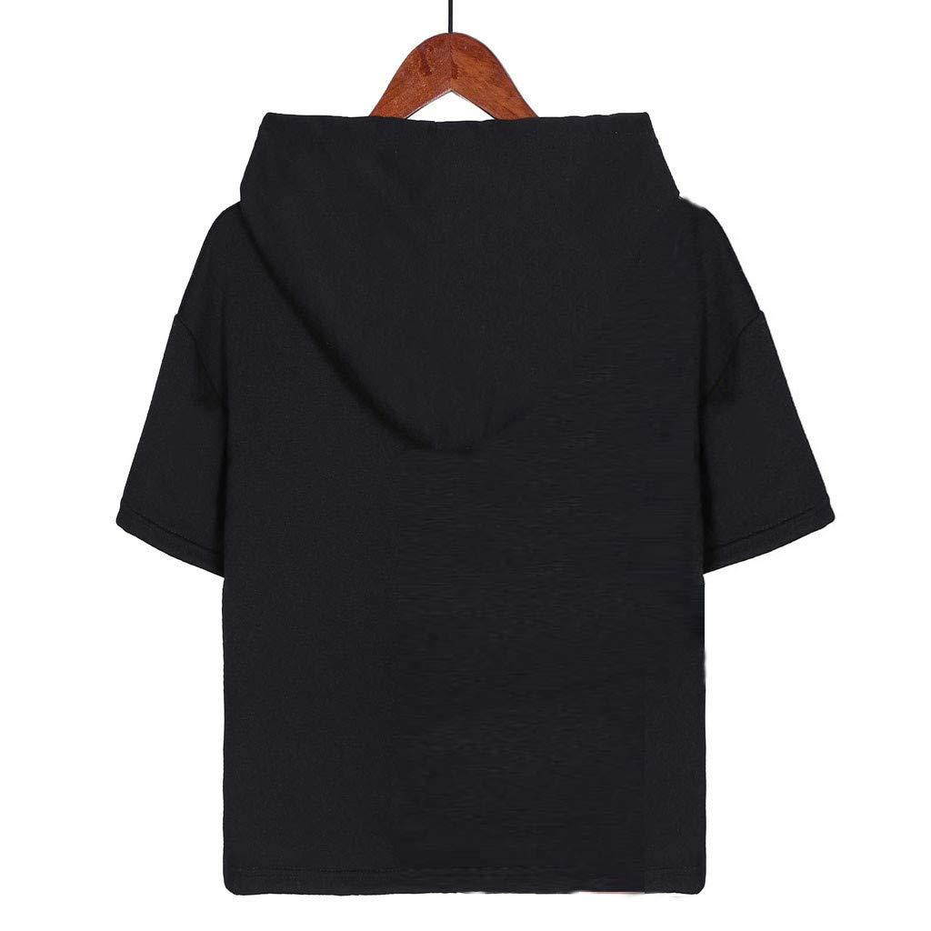 YFancy Womens Girls Short Sleeve Tops Summer Cute Cartoon Print Hoodie Casual T-Shirt Pockets Blouse Loose Fit Tee