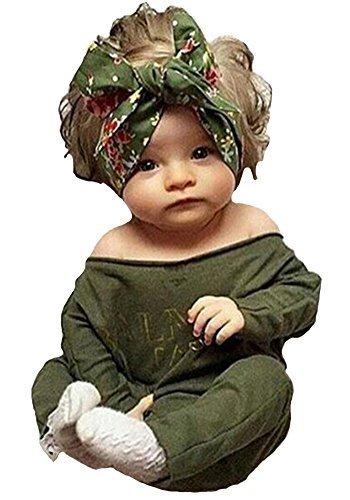 Newborn Infant Baby Girls Clothes Long Sleeve Off Shoulder Romper Jumpsuit (S(0-6months)) from Juicart
