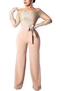 AllForYou Donna Jumpsuit Pantaloni Lunghi Vintage Pizzo Playsuit Tuta  Eleganti Spalla off Lunghi Manica Tute da 5885a475adf