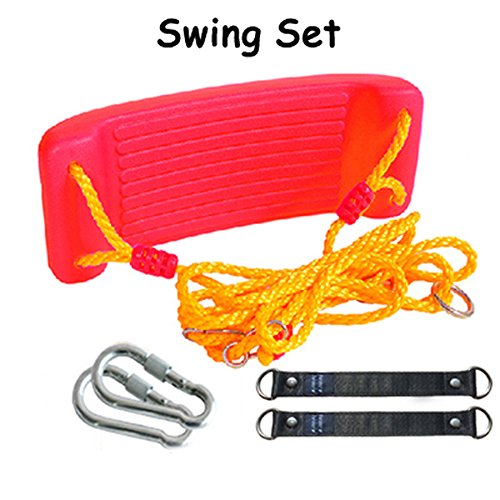 Outdoor Swing Bending Set Plate Rope Swing Seat Tree Belt Children Toys Plastic Coated Playground Swing Set Accessories Replacement for Outdoor Indoor, Red, Set of 5