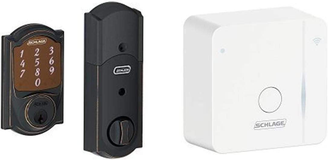Schlage Sense Smart Deadbolt with Camelot Trim Aged Bronze (BE479 CAM 716) with Wi-Fi adapter