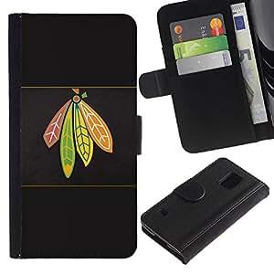 EJOY---Tirón de la caja Cartera de cuero con ranuras para tarjetas / Samsung Galaxy S5 V SM-G900 / --Jefe indio