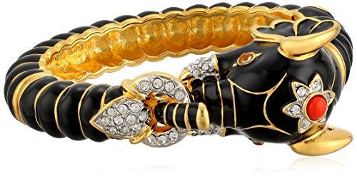 Kenneth Jay Lane Gold Crystal and Black Enamel Elephant Bracelet (Black Kenneth Bracelet Lane)