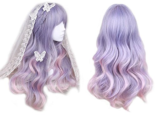 Women Girls Japan Harajuku Sweet Lolita Natural Looking Daily Wear Cute Fluffy Purple Blue Pink Ombre Healthy Long Curly Kanekalon Full Wig (Cute Halloween Costumes Easy To Make)