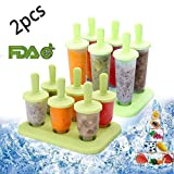 Popsicle Molds Plastic Ice Pop Molds Reusable BPA Free DIY Ice Cream Molds Maker with Sticks for Adults Kids (Green, 12pcs)