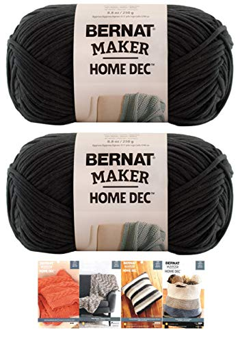 Bernat Maker Home Dec Corded Yarn Bundle 2 Skeins with 4 Patterns 8.8 Ounce Each Skein (Black)