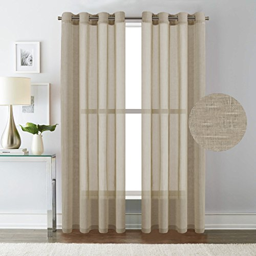HVersailtex Breathable And Airy Natural Linen Poly Mixed Extra Long Sheer Curtains