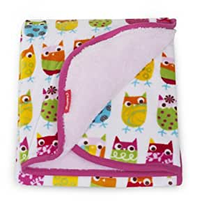 Zutano Owl Velour and Sherpa Blanket, Owls