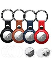 4Pack Leather Case for AirTag Tracker (2021),Very Strong and Can't Fall Portable AirTags Keychain+(4 Pack Air Tags Protector) Anti-Scratch Lightweight