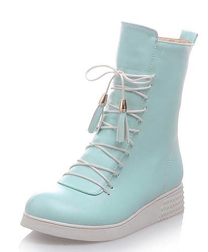 Aisun Damen Flach Schule Frisch Farbe Martin Schnürsenkel Chukka Boots Blau 35 EU DjAYa6tr