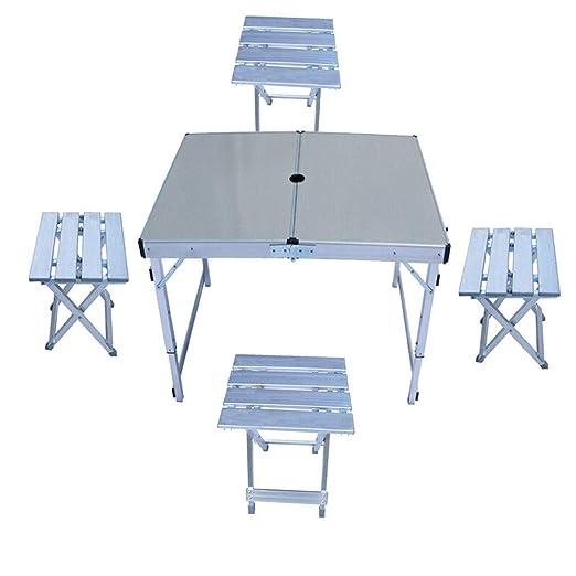 FJZ Mesa Plegable Mesa portátil y sillas Plegables al Aire Libre ...