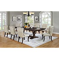 Best Quality Furniture D35Set Beige Dining Set Linen Look Upholstered (9 Piece), Cappuccino