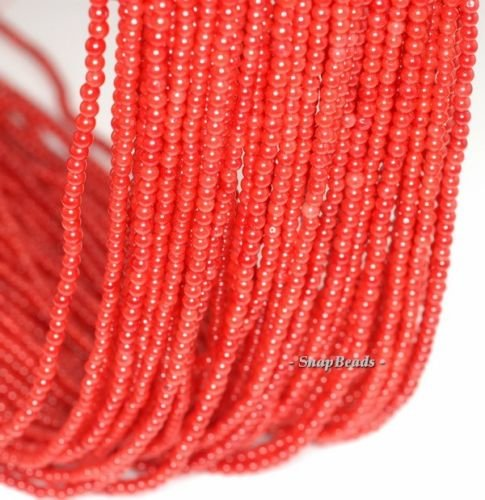 2MM RED Coral Gemstone Grade A RED Round 2MM Loose Beads (16' 2mm Stone)