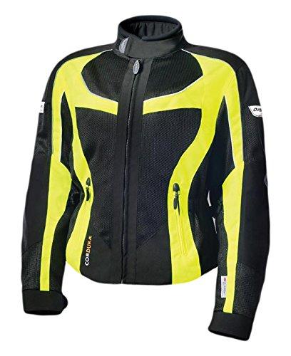 Olympia Moto Sports Women's Switchback 2 Mesh Tech Jacket (Black/Neon Yellow, X-Small)