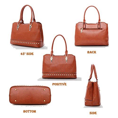 piece Card Shoulderbag Handbag Casual New PU Handbag Fashion Handbag Case Ladies Darkblue Four Leather ZA0xgnF
