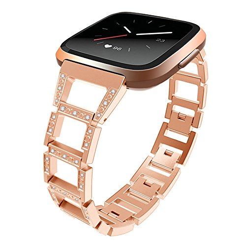 YJYdada Luxury Woven Fabric Replacement Accessories Wristband Straps For Fitbit Versa (gold)