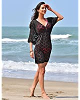 MG Collection Fashion Floral Lace V-Neck Beach Swimsuit Cover Up