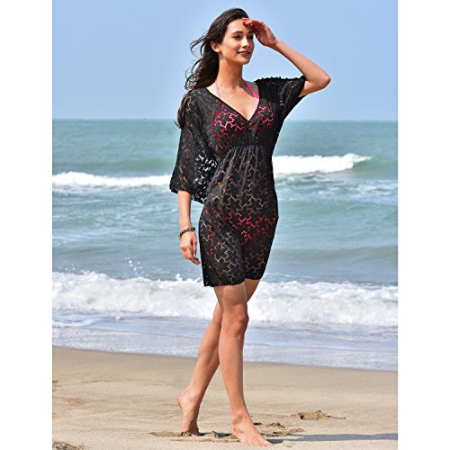 MG Collection Fashion Floral Black Lace V-Neck Beach Swimsuit Cover Up