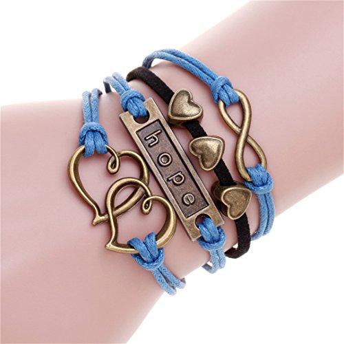 Cabochon 4 Prong - 2Pcs Bijoux Handmade Braid Love One Direction Charm Bracelet Wristband Leather Heart Bracelets Bangles For Men Woman 4