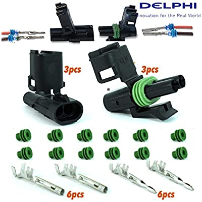 Delphi Packard (2 Circuits) 3 Match Set Weatherpack, Waterproof, Terminal Kit 18 20 GA,: Automotive