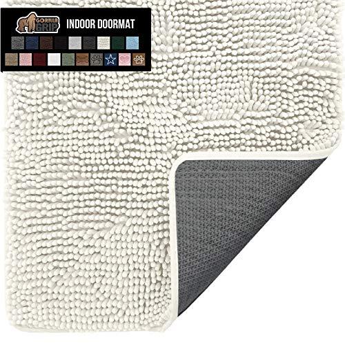 Gorilla Grip Original Indoor Durable Chenille Doormat, 24x17, Absorbent Washable Inside Mats, Low-Profile Rug Doormats for Entry, Mud Room Mat, Back Door, Busy Areas, Cream